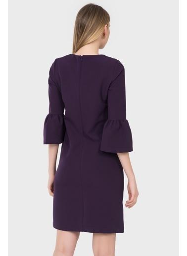 İroni İspanyol Kollu Mini Elbise Mor
